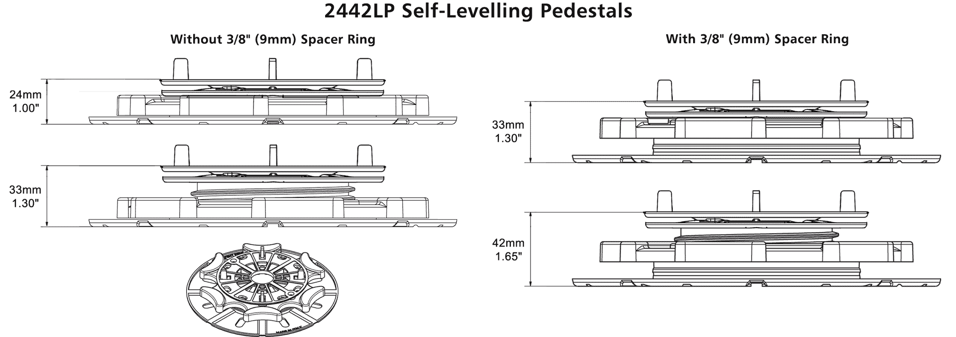 StrataRise 2442 Self Levelling Low Profile Pedestals - Technical Drawings