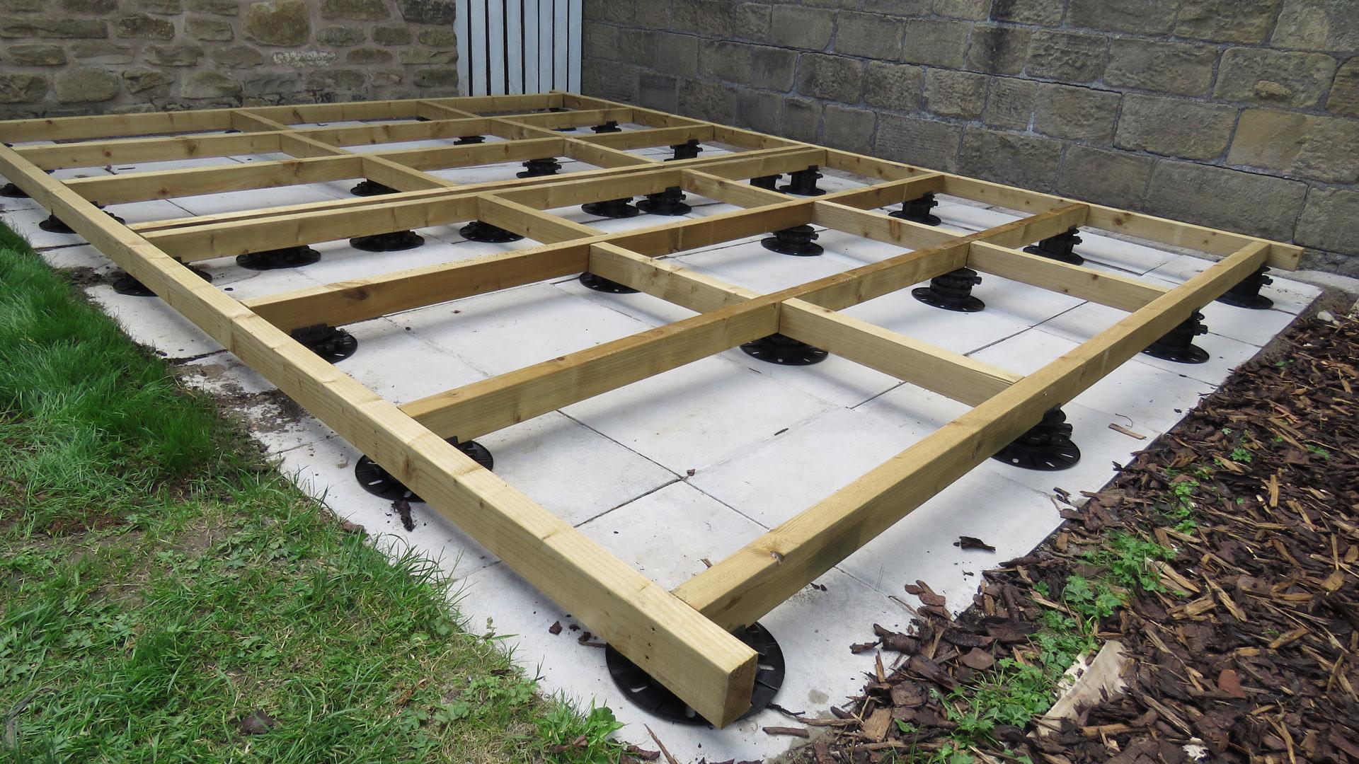 Support framework for a Garden Shed levelled with StrataRise Pedestals